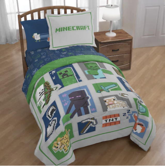 Minecraft Builders Iconic Boys Twin Comforter Amp Sheet Set