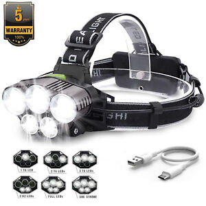 Profi-LED-Stirnlampe-Kopflampe-90000LM-5x-XM-L-T6-Inkl-USB-Ladekabel-Headlamps