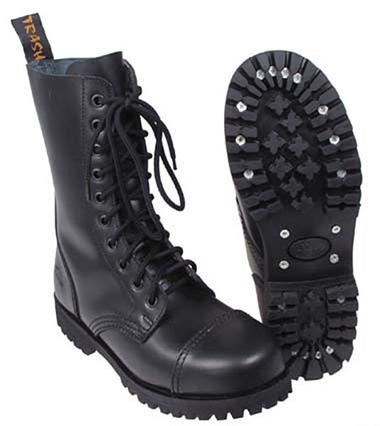 MFH PURE TRASH Ranger Boots 10-Loch Schuhe Gothic-Stiefel Stahlkappe 37-47