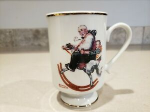 1981-Danbury-Mint-Norman-Rockwell-Gramps-At-The-Reins-Porcelain-Pedestal-Mug-Cup