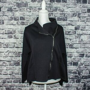 COMFY-USA-Women-039-s-Size-zip-Moto-Sweater-Jacket-Black-Size-Medium