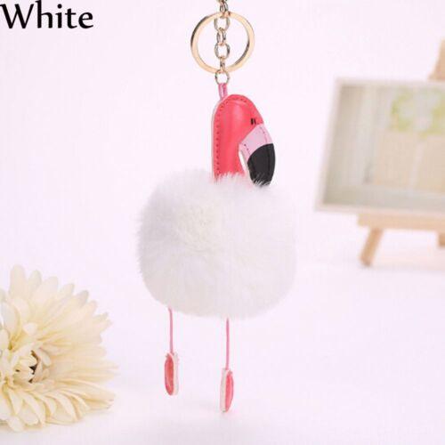 Kaninchen Pelz Handtaschen-Anhänger Schlüsselbund Flamingo Schlüsselbund