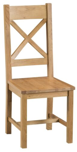 Pair of Kingsford Oak Cross Back Dining Chairs with Wooden Seats / Solid Wood