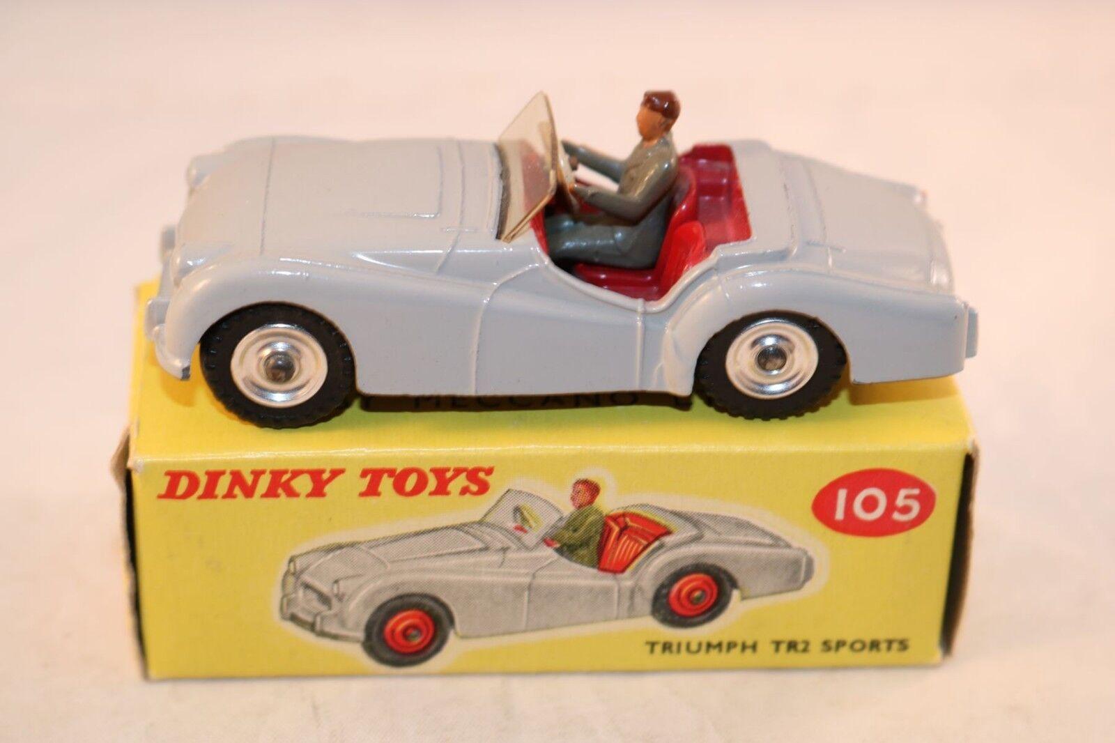 hasta 60% de descuento Dinky Juguetes 105 105 105 Triumph TR2 Sports gris with spun hubs very near mint in box  bajo precio del 40%