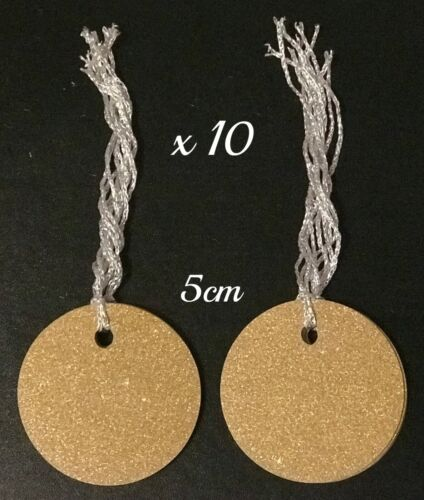 10 x Large Gold Glitter Round Birthday Present Valentines Gift Tags Name Labels