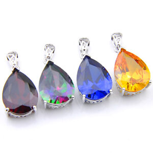 4-pcsTeardrop-Rainbow-Mystic-Topaz-Blue-Topaz-Morganite-Silver-Necklace-Pendants
