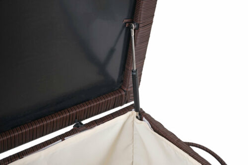 Poly Rotin Coffre mcw-d88 coussins Premium Marron 51x115x59cm 250 L