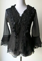 Pretty Angel Vintage Victorian Romantic Textured Black Blouse-silk Blend & Lace