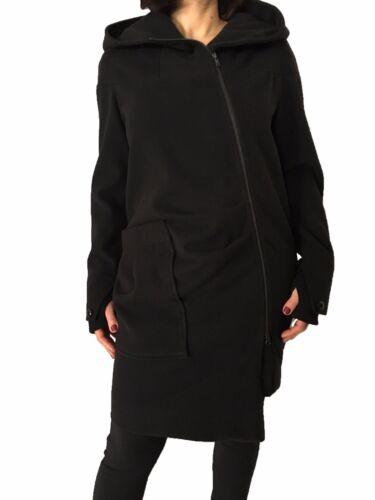 Maria Grazia Panizzi Mantel Frau Reißverschluss Schwarz Made in Italy