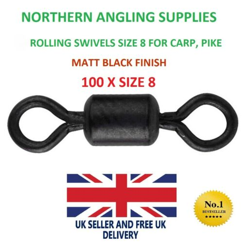 100 Size 8 ROLLING SWIVELS carp sea pike fishing swivel