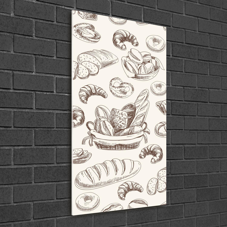 Wand-Bild Kunstdruck aus Acryl-Glas Hochformat 50x100 Brot