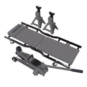 Set Of 4 Combo Kit 2 Ton Trolley Jack 2 Stand Folding