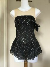Icings New BLACK GLITTER  COMPETITION ICE ROLLER SKATING DANCE BATON DRESS