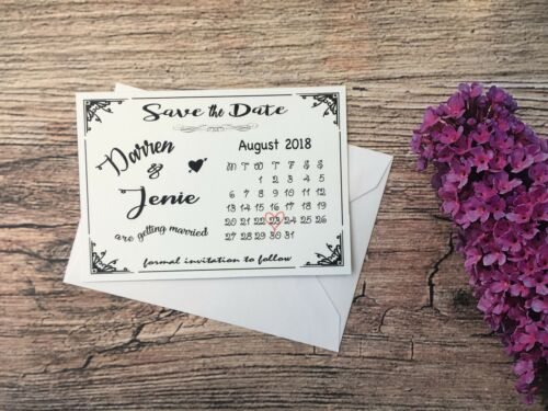 Magnet Personalised Wedding Save The Date Cards Envelopes Day Diamante F51A7