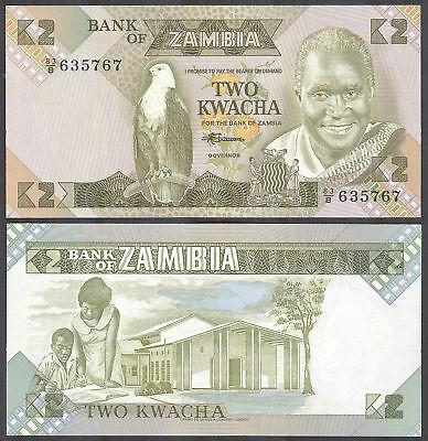 ZAMBIA 2 Kwacha 1980-1988 Banknote Note UNC P 24c P24c