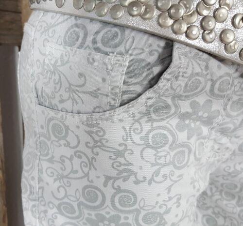 NEU ITALY BAGGY BOYFRIEND JEANS SHORTS HOT PANTS GEMUSTERT HELLGRAU S 34 46