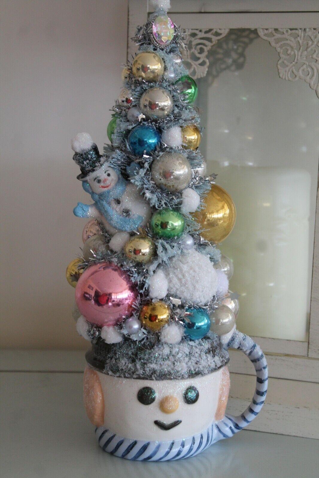 Christmas Vintage Bottle Brush Tree with Snowman Planter Mug