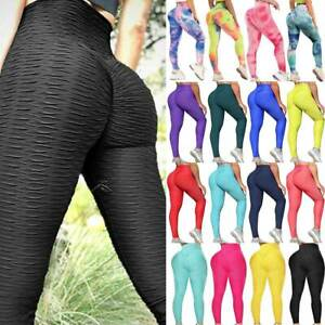 Womens Anti-Cellulite Yoga Pants Leggings Push Up Stretch Sports Gym Trousers UK