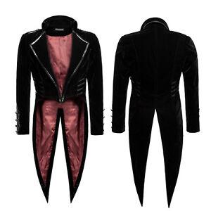 Dieselpunk Rave Jacket Military Punk Steampunk Velvet Black Swallowtail Coat 07xnOCwq