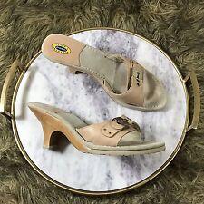 Dr Scholl's Original Sz 8.5 M Tan Leather Wood Heels Willow Slide on Sandals