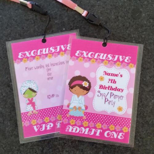 Personalised VIP Pass Lanyard  Birthday Party Invite Girls Pamper Spa Sleepover