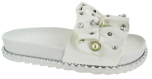 WOMENS STUUDDED FLAT DIAMANTE SLIDERS LADIES BEACH HOLIDAY SUMMER SANDALS SHOES