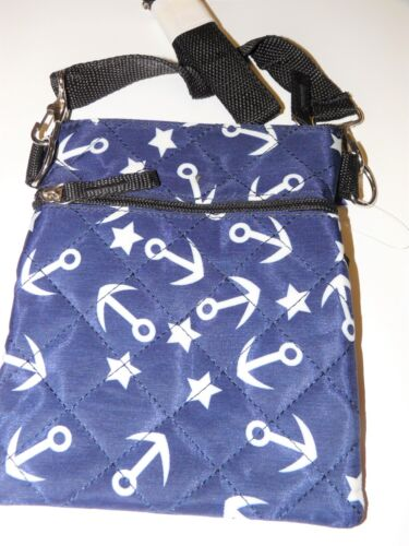 Ladies girls crossbody bag holiday shoulder bag double zipped anchors or aztec