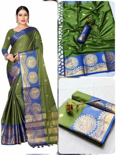 Cotton Silk Saree With Jari Design With Running Unstitched Blouse Pcs Women/'s Sa