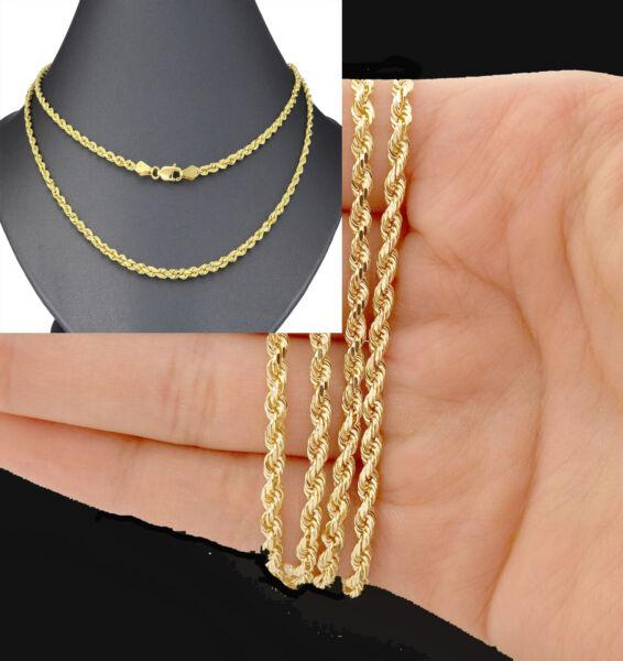 100% QualitäT Echter Karat Gold Seil Halskette, Yelloow 20 30 Zoll Herren Kubanische, Link