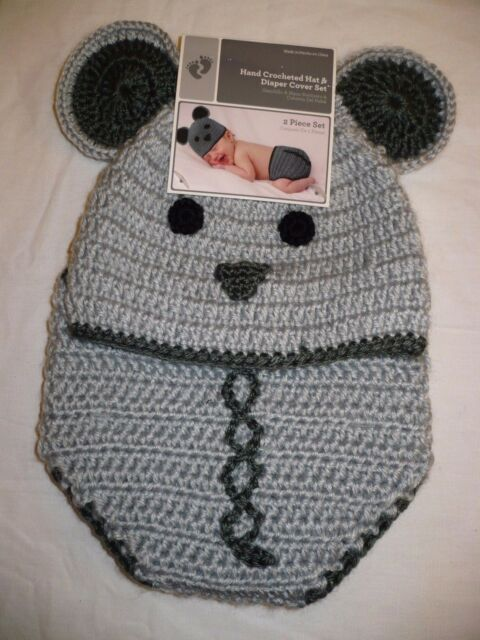 Hand Crocheted Mouse Hat & Diaper Cover Set 0-9 Months With Bonus BOOTIES