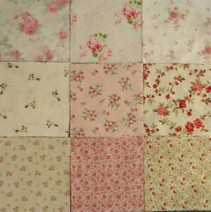 Charms-Rose-Quilting-Squares-5-034-Fabric-Pre-cut-Quilting-Squares-Pink-Roses