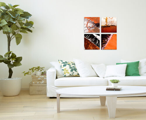 Abstrakt052 4x30x30cm Leinwandbild auf Keilrahmen Orange Rot Wandbild SinusArt