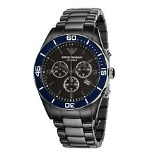 NEW-EMPORIO ARMANI BLACK CERAMIC,BLUE BEZEL,CHRONOGRAPH BRACELET WATCH AR1429