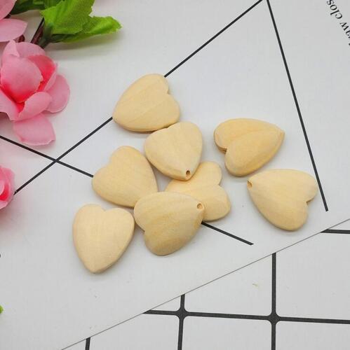 Hágalo usted mismo Corazón Granos De Madera Natural Para La Dentición Juguete Molar de bebé sin pintar Cuentas De Madera