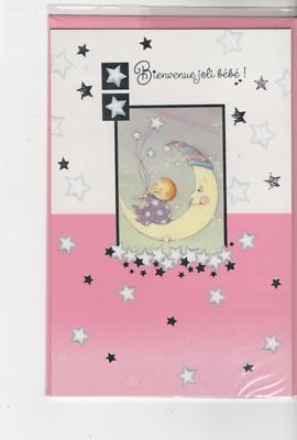 Carte Félicitations.bienvenue Joli Bébé Bébé Sur Lune Et étoiles11 Cm X 17 Cm. En Om Een Lang Leven Te Hebben.