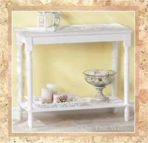 Image Is Loading NEW SHABBY WHITE CHIC AGED WOOD TABLE HALL