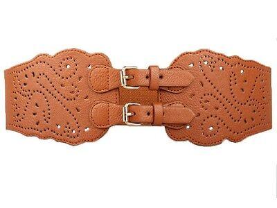 Vintage Super Wide Faux Leather Double Buckle Elastic Stretch Corset Waist Belt