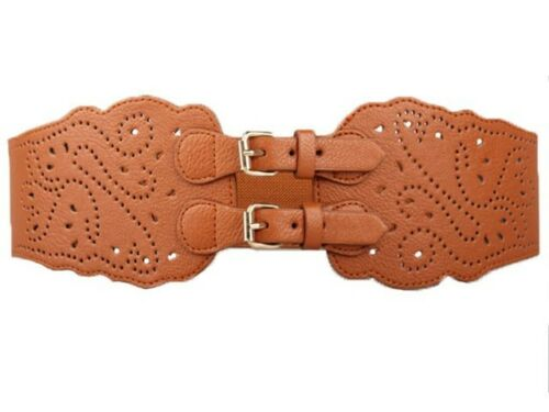Super Wide Faux Leather Double Buckle Elastic Stretch Corset Women Waist Belt
