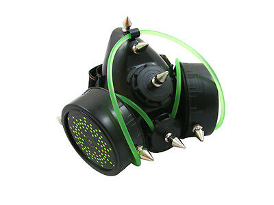 BLACK CYBER RESPIRATOR MASK SPIKES GREEN TUBING ELECTRONS RAVE GOTH STEAMPUNK