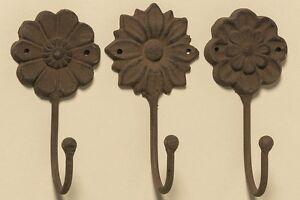 3-piezas-ganchos-para-ropa-marron-hierro-fundido-flores-Antiguo-Flor