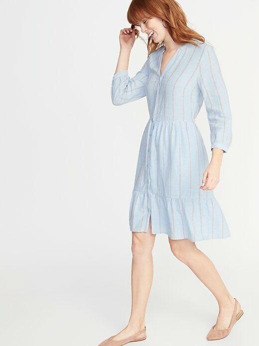OLD NAVY Waist-Defined Striped Shirt Dress for Women LINEN BLEND SIZE XS NWT