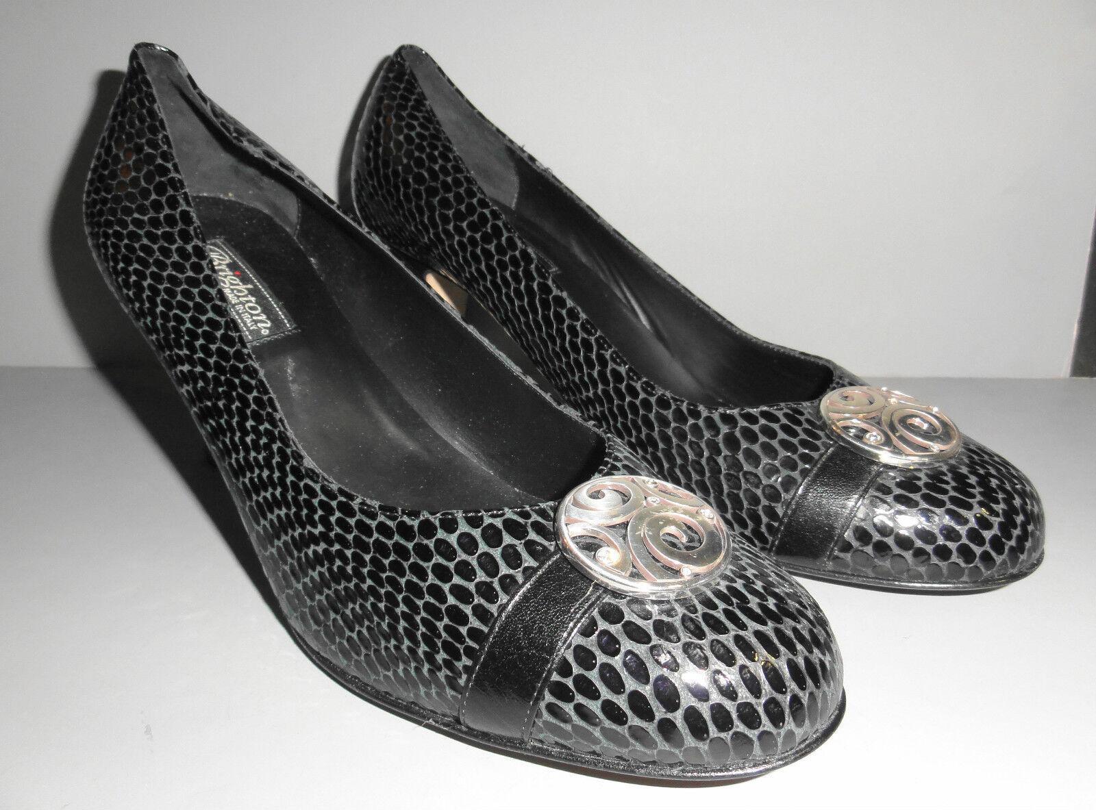 Brighton Made in  cuir noir talon haut femmes chaussures Blaze Serpent Motif