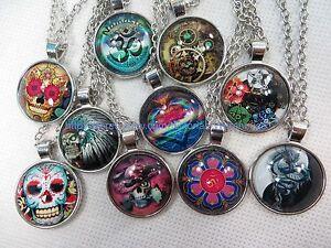 $0.75 each,  100 necklaces vintage hippie cabochon pendant wholesale jewelry lot