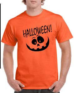 Halloween T-shirt Happy Pumpkin face jack-o-lantern Orange Gray Gildan Cotton