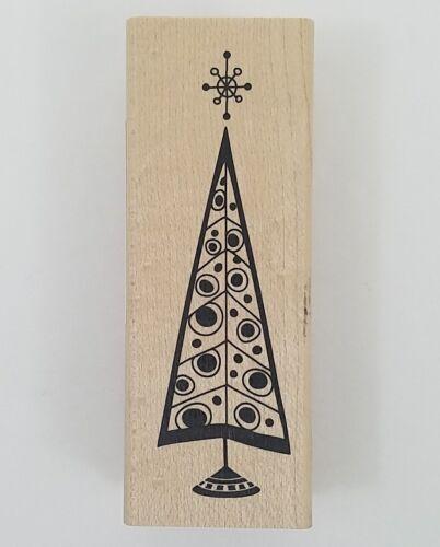Rubber Stamp Retro Christmas Tree Inkadinkado Holiday Cards Winter Wood New