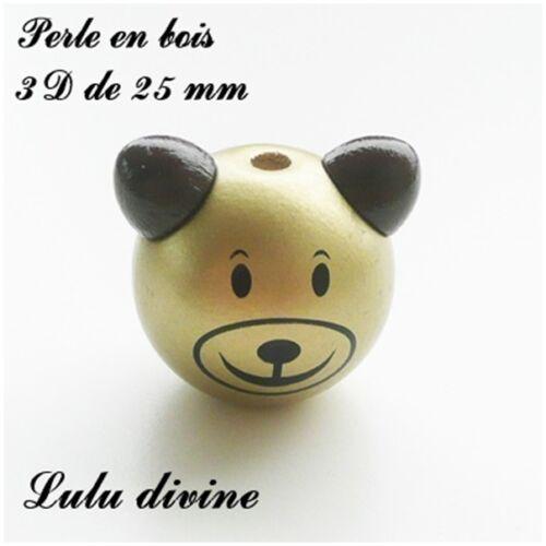Or Perle 3D Tête d/'ourson Perle en bois de 25 mm