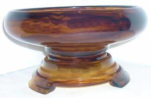 VINTAGE-ART-DECO-DAVIDSON-CLOUD-GLASS-AMBER-CENTREPIECE-BOWL-PLINTH