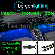 2X 1000MM BLUE USB 12V LIGHTER INTERIOR KIT 12V SMD5050 DRL MOOD LIGHTING STRIPS