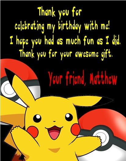 Pokemon Pikachu Birthday Party Thank You Note Cards Personalized