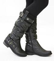 Ladies Flat Winter Biker Style Low Heel Walking Zip High Leg Knee Boots Size New